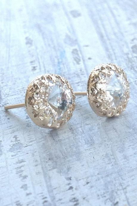 Gold earrings, crystal stud earrings, stud earrings, classic earrings, wedding earrings, Goldfilled earrings - 6100