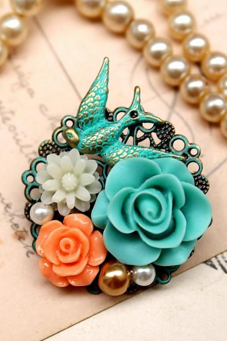 Resin flower brooch pin, blue rose pin, colorful jewelry, spring colors 2013, pearl jewelry